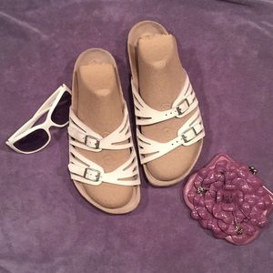 VGUC 41 BIRKENSTOCK White Leather